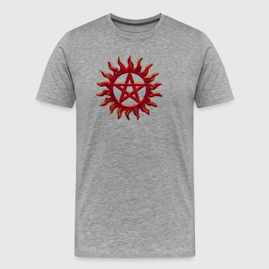 Pentagram - Blazing Star- Sign of intellectual omnipotence and autocracy. digital red, Star of the Magi , powerful symbol of protection - Camiseta premium hombre