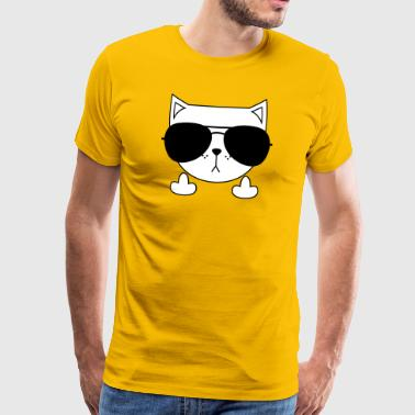 Cute Cat Icon | Sunglasses | Middle Finger - Men's Premium T-Shirt