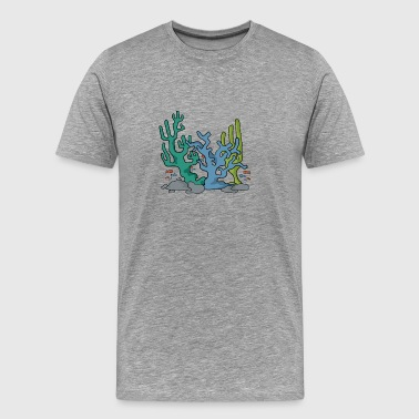 Coral reef nature navy aqua gift idea - Men's Premium T-Shirt
