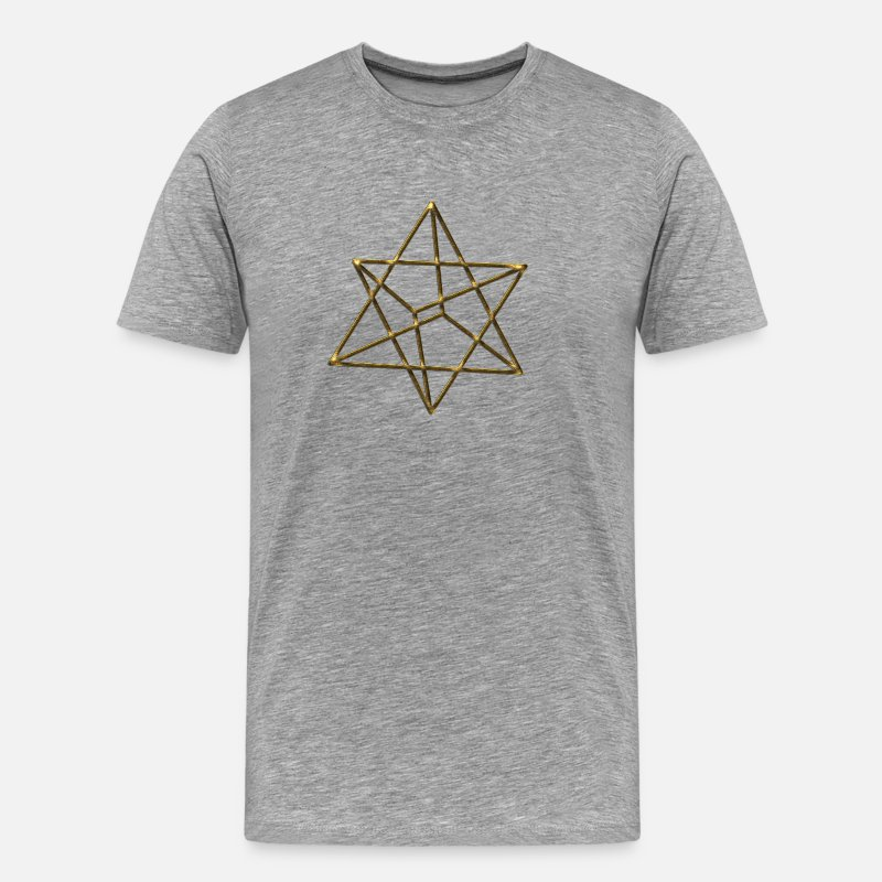 Jesús Camisetas - Merkaba, 3D, gold, divine light vehicle, sacred geometry, star tetrahedron, flower of life - Camiseta premium hombre gris jaspeado