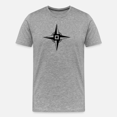 Four Earth Star, Hex Sign, Four Pointed Star - Men's Premium T-Shirt