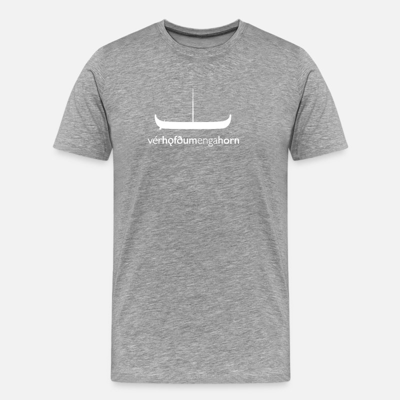 Horns T-Shirts - WeHadNoHorns - Vikingskip Gokstad - Men's Premium T-Shirt heather grey