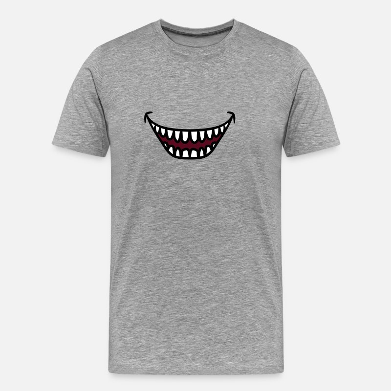 Animal T-Shirts - Ugly grinning laughing Monster mouth - Men's Premium T-Shirt heather grey