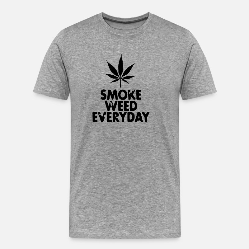 Cannabis T-shirts - smoke weed everyday leaf - T-shirt premium Homme gris chiné
