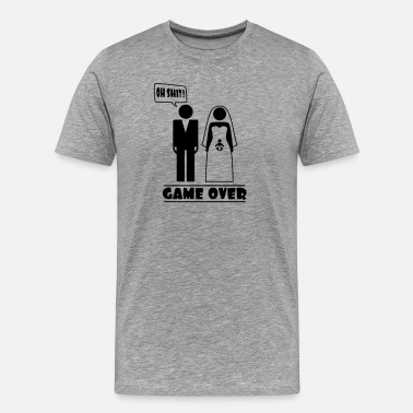 Gaming Baby Wedding with baby inside - oh shit - game over - Men's Premium T-Shirt