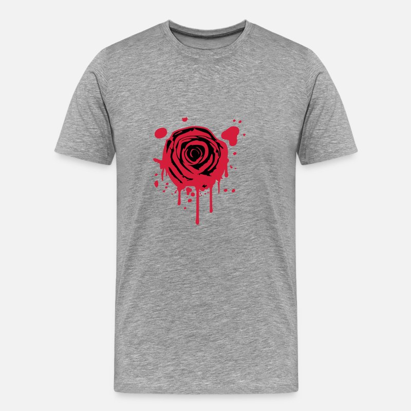 Red Rose T-Shirts - Red blood splashes KLEX graffiti rose - Men's Premium T-Shirt heather grey