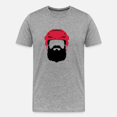 Ice Hockey Beard Eishockey Bart - Hockey Beard Helmet - Men's Premium T-Shirt