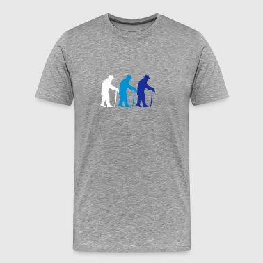 3 old grandads with cane walking stick - Men's Premium T-Shirt
