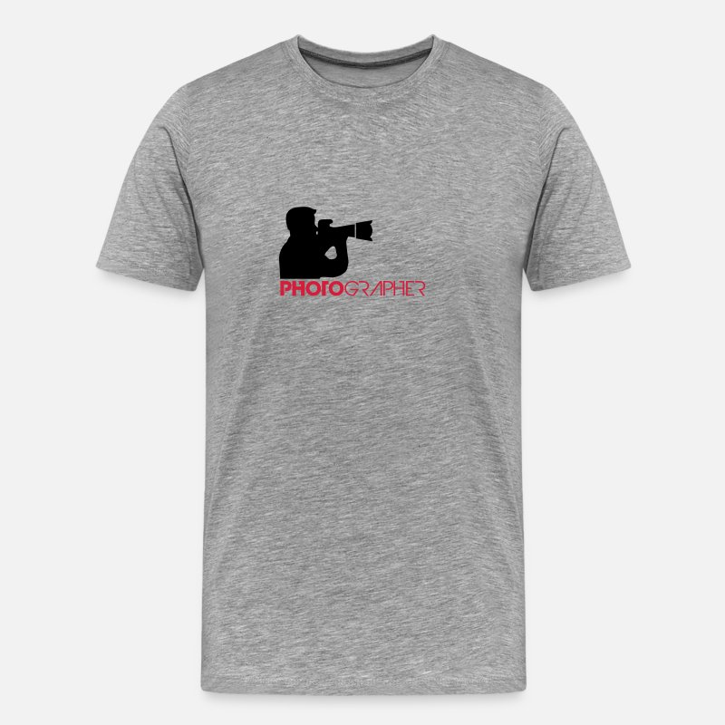 Camera T-Shirts - Photographer Text Logo Design - Men's Premium T-Shirt heather grey
