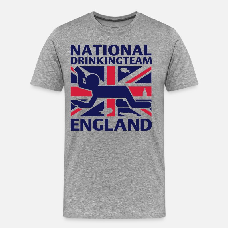 Scotland T-Shirts - NATIONAL DRINKING TEAM ENG - Men's Premium T-Shirt heather grey