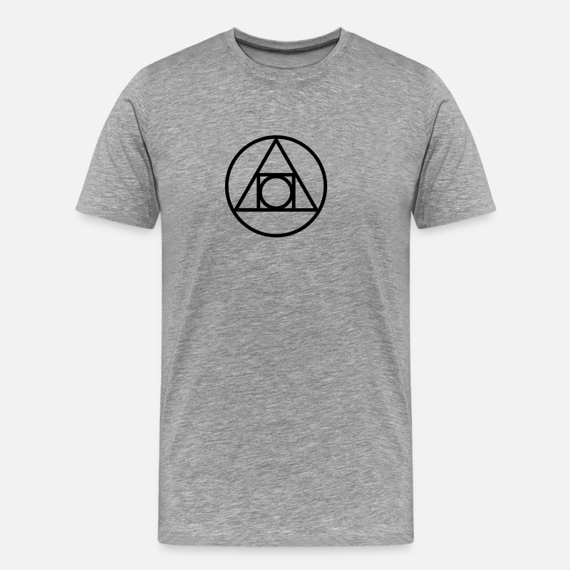Masonic Symbol All T-Shirts - Squaring the circle, alchemical symbol, occultism - Men's Premium T-Shirt heather grey