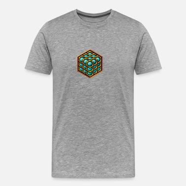 Danebury 3D Cube - crop circle - Metatrons Cube - Hexagon / - Men's Premium T-Shirt