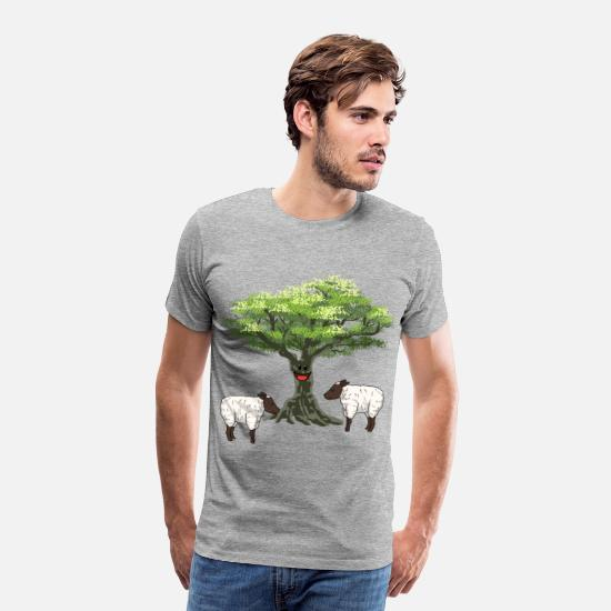 Easter T-Shirts - Olive tree tree sheep lambs nature easter sheep - Men's Premium T-Shirt heather grey