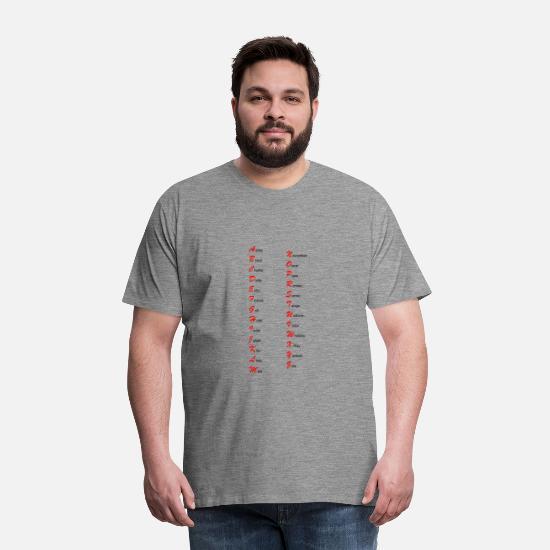 Alfabet nato morsen alfa beta Premium T shirt mænd   Spreadshirt