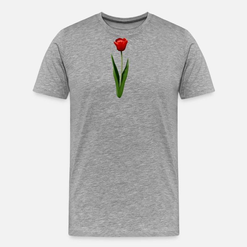 Tulipán Camisetas - tulipán rojo - Camiseta premium hombre gris jaspeado 7ac77e010e908