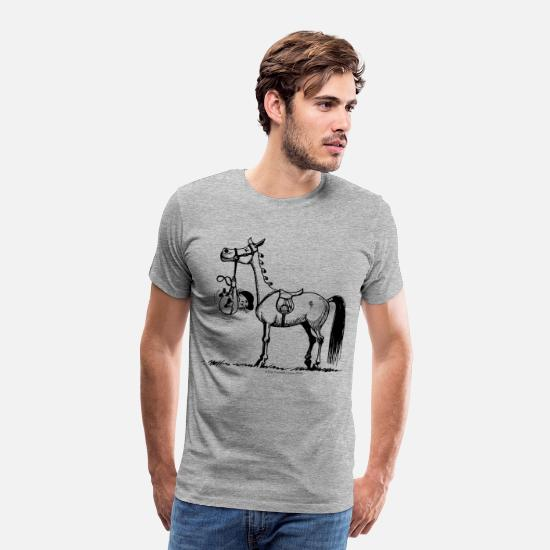 Funny T-Shirts - Stubborn Pony Thelwell Cartoon - Men's Premium T-Shirt heather grey