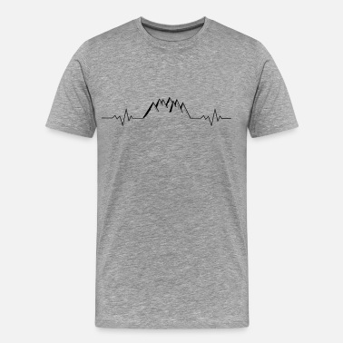 Pulse Heart Rate Mountains Mountains Alps heart rate pulse rate - Men's Premium T-Shirt