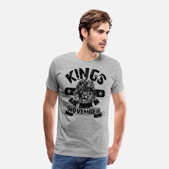 Kings Are Born In November T-Shirts - Born In November Birthday - Men's Premium T-Shirt heather grey