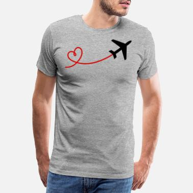 Aviation Airplane aviator with heart in black red - Men's Premium T-Shirt