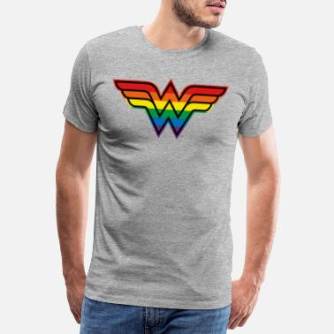 Justice League Wonder Woman Rainbow Logo - Mannen premium T-shirt