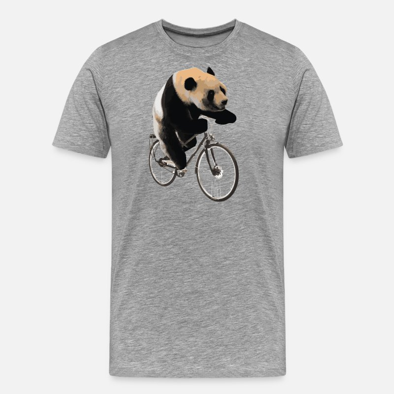 Bike T-Shirts - Bike Panda Bicycle Gift Kids Animal Biking Bear - Men's Premium T-Shirt heather grey