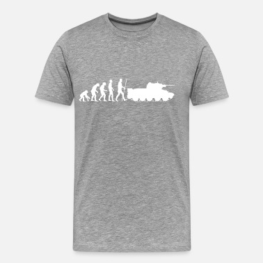 Evolution End The evolution of humanity ends in the war tank - Men's Premium T-Shirt