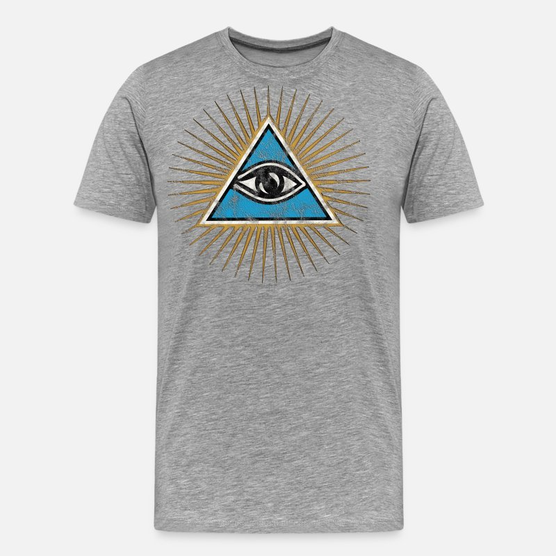Eye T-Shirts - All-seeing Eye, Triangle, Pyramid, Vintage, God - Men's Premium T-Shirt heather grey