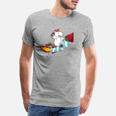 Comic Cartoon rocket unicorn - Men's Premium T-Shirt