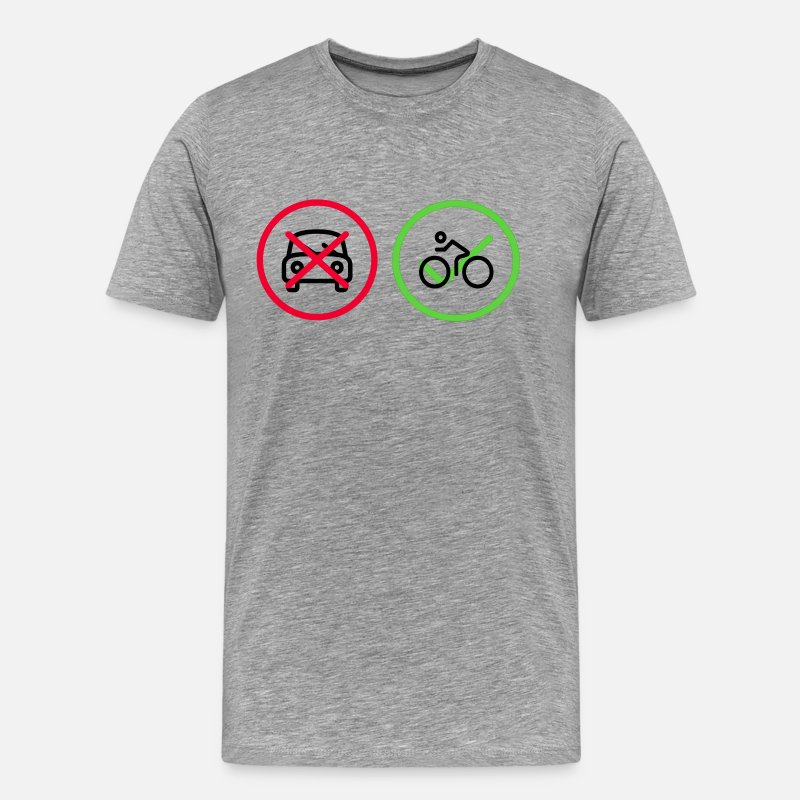 Bicyclette T-Shirts - No Car Yes Bike Bicycle Car - Men's Premium T-Shirt heather grey