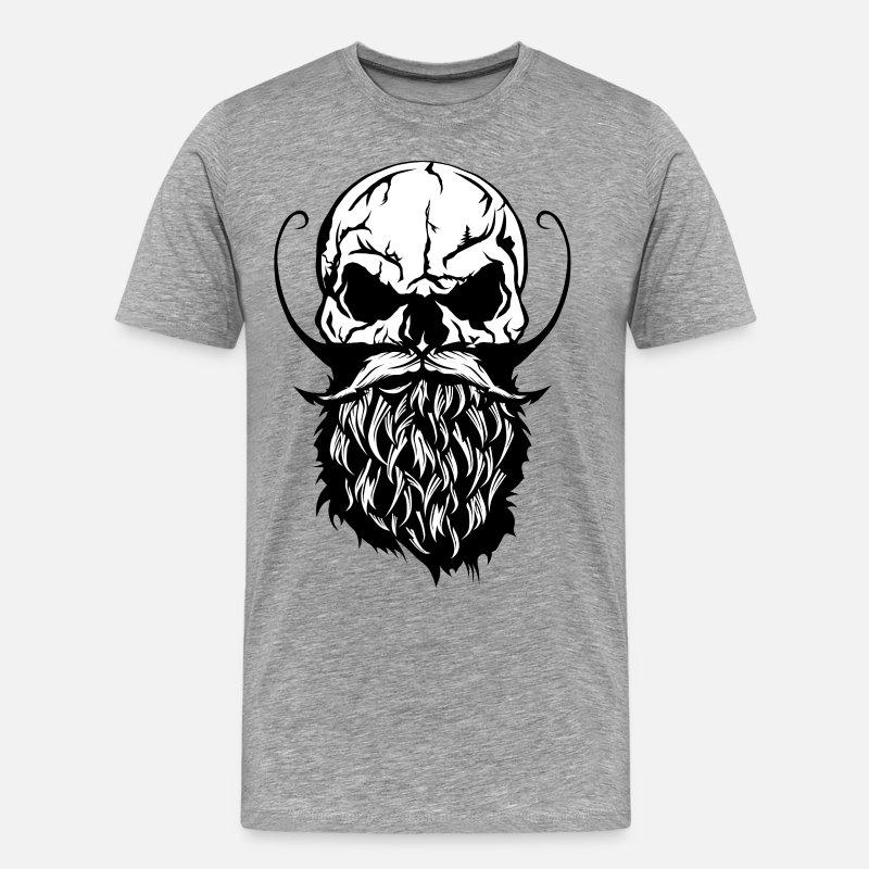 czaszka czaszka hipster żuraw broda brodaty wąsy Premium