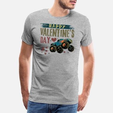 4x4 Happy Valentine's Day - Vintage Monster Truck - Men's Premium T-Shirt