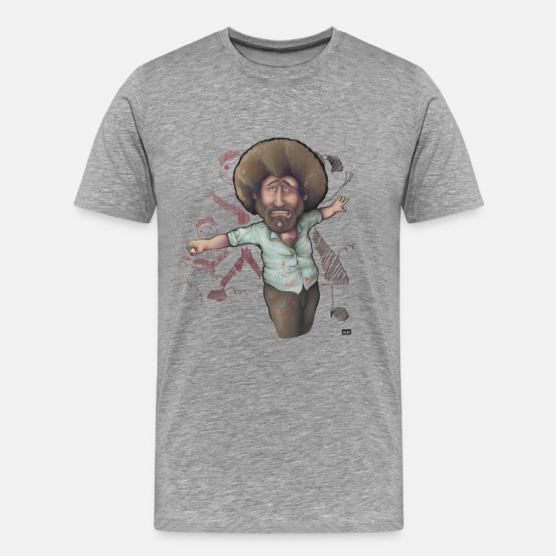 Ross T-Shirts - Bob Ross Can't Paint People - Men's Premium T-Shirt heather grey