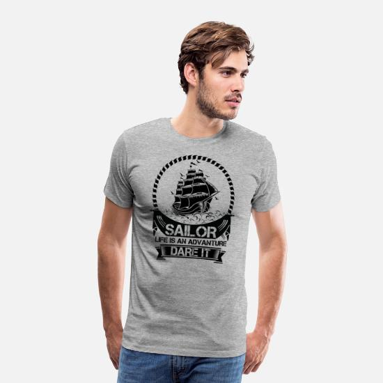 Relax T-Shirts - Sailor Life Is Adventure Dare It - Men's Premium T-Shirt heather grey
