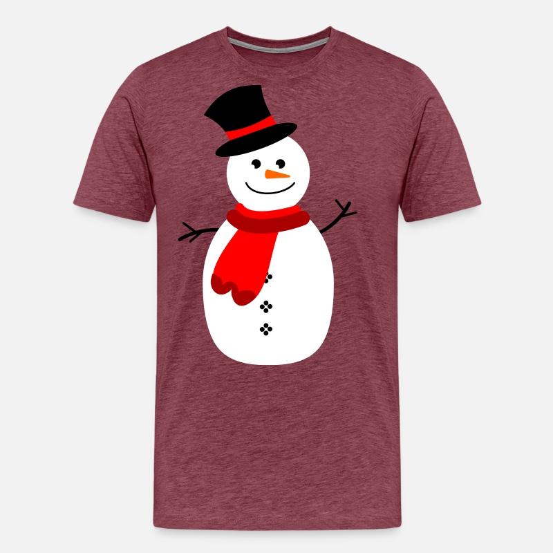 Pupazzo di neve con sciarpa Maglietta premium uomo  154e6ca939d
