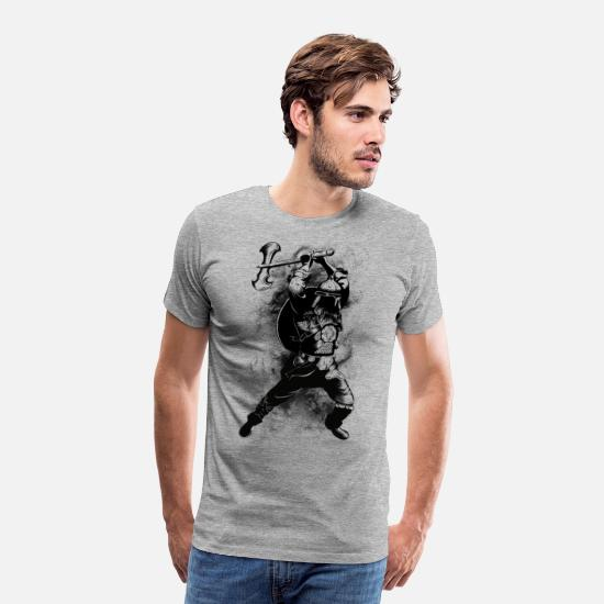 Black And White Collection T-Shirts - Viking Warrior - Men's Premium T-Shirt heather grey