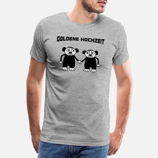 Goldene Hochzeit Männer Premium T Shirt Grau Meliert
