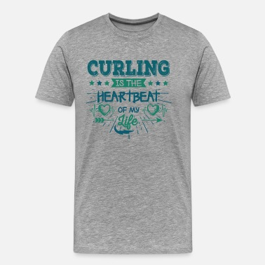 Curling Curling Heartbeat Cup Pullover Retro Funny Funny - Camiseta premium hombre