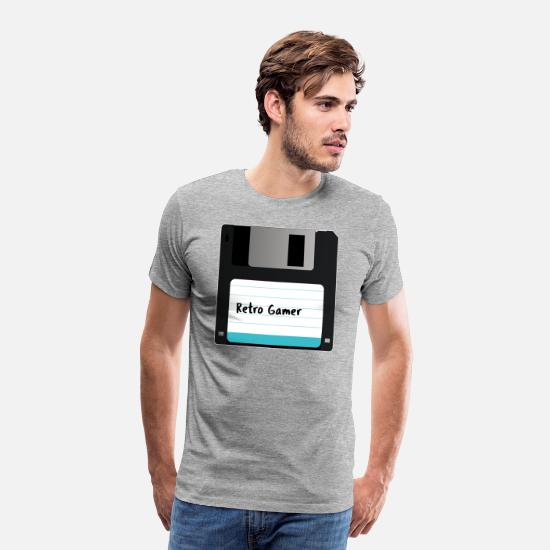 The Gameslave T-Shirts - Floppy Disk Retro Gamer - Men's Premium T-Shirt heather grey