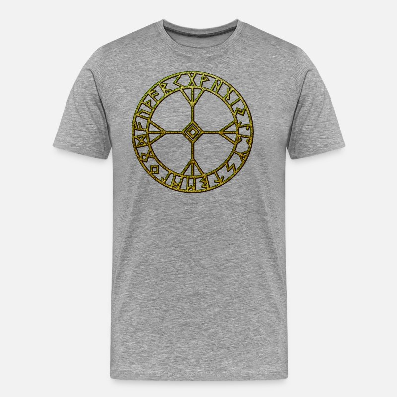 Wicca T-Shirts - Rune Algiz Amulet Viking's Lucky Charm Protection - Men's Premium T-Shirt heather grey
