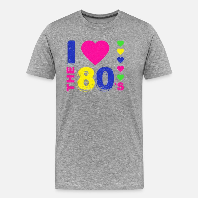 Music T-Shirts - Disco.I love the 80's. 80's Style. 80's Music - Men's Premium T-Shirt heather grey