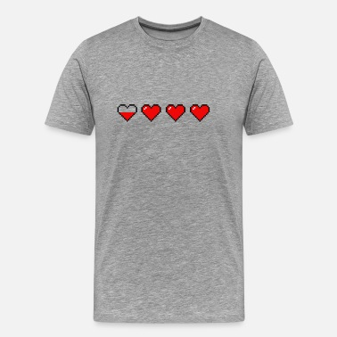 Running Nerd Pixel Heart Retro Videogames Life and Stamina - Men's Premium T-Shirt