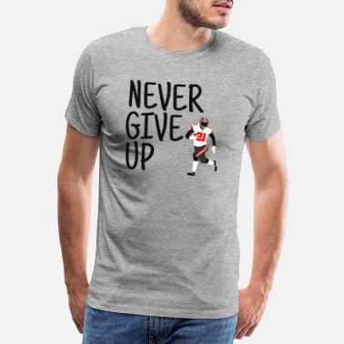 Never Give Up - American Football (rood, zwart) - Mannen premium T-shirt