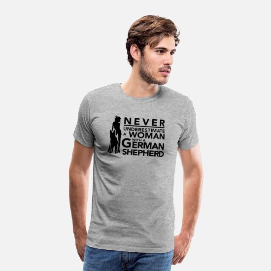 German T-Shirts - Never Underestimate a Woman with a German Shepher - Men's Premium T-Shirt heather grey