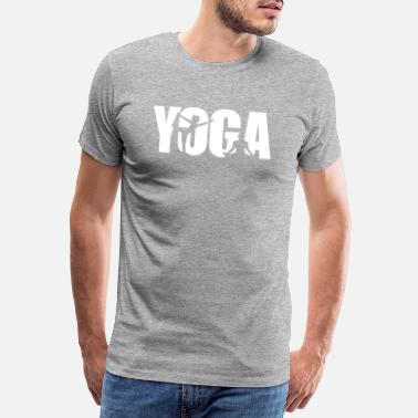 Yoga in white letters and 2 poses - Men's Premium T-Shirt