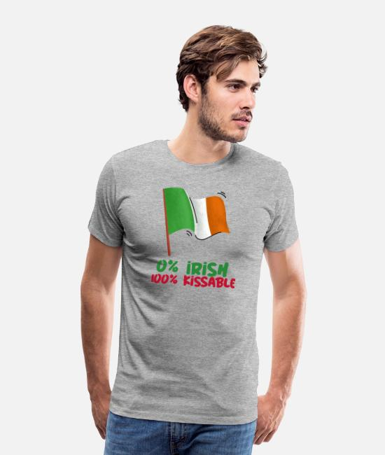Cloverleaf T-Shirts - 0% Irish 100% Kissable Tshirt St. Patricks Day - Men's Premium T-Shirt heather grey