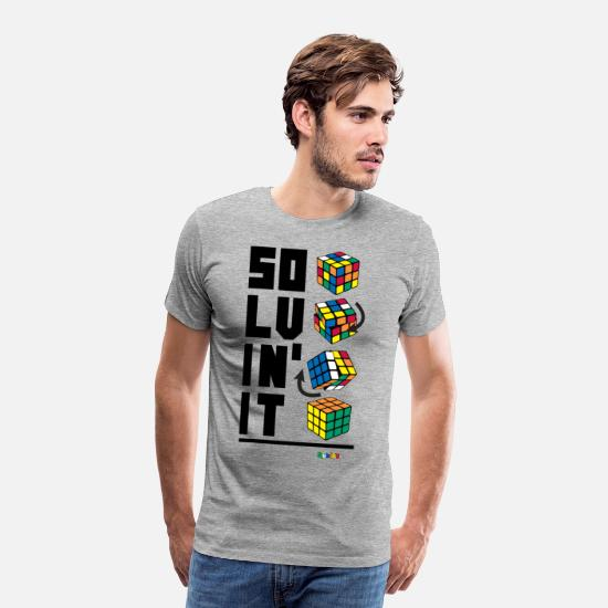 Geek T-Shirts - Rubik's Cube Solvin' It - Men's Premium T-Shirt heather grey