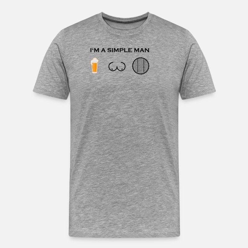 Birthday T-Shirts - simple man boobs beer beer tits cycling mature w - Men's Premium T-Shirt heather grey