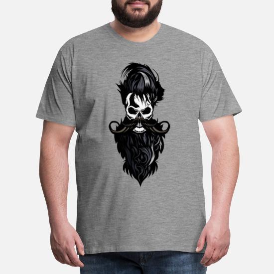 T-shirt Tête de Mort Barbu Hipster Blanc