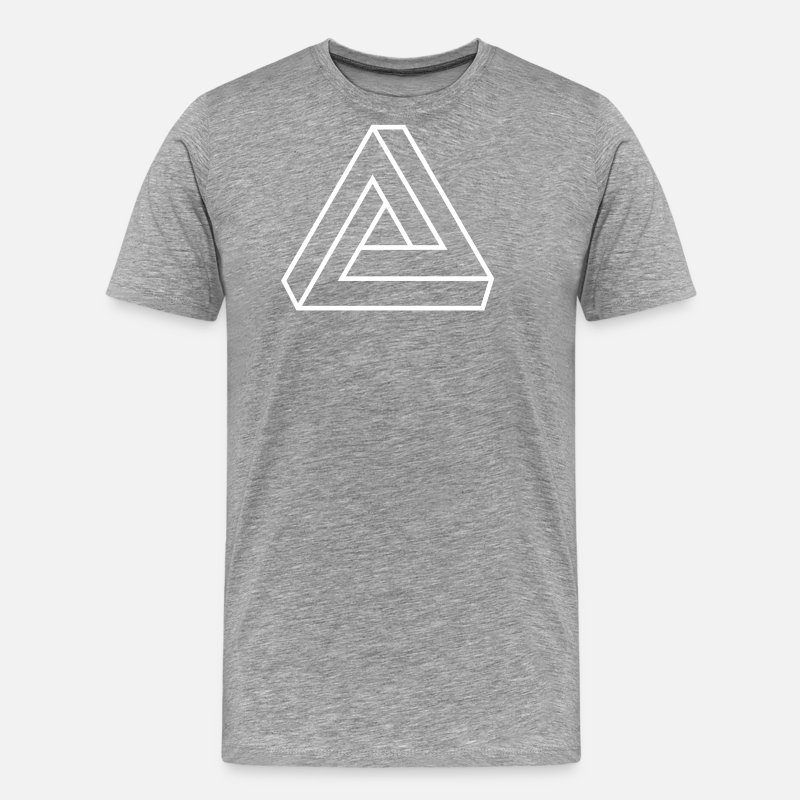 Symbol  T-Shirts - Optical Illusion, Impossible Triangle, mathematics - Men's Premium T-Shirt heather grey