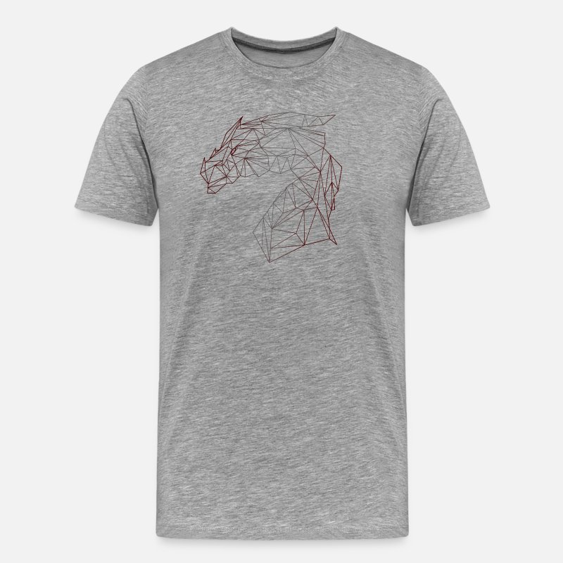 Awesome T-Shirts - DRAGON POLYGON - Men's Premium T-Shirt heather grey